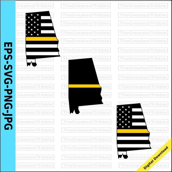 Thin Yellow Line Alabama Usa Flag Thin Yellow Line Flag Eps Etsy