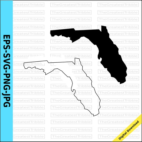 Flordia State Map.Florida State Map Svg Png Jpg Eps Vector Graphic Clip Art Us Etsy