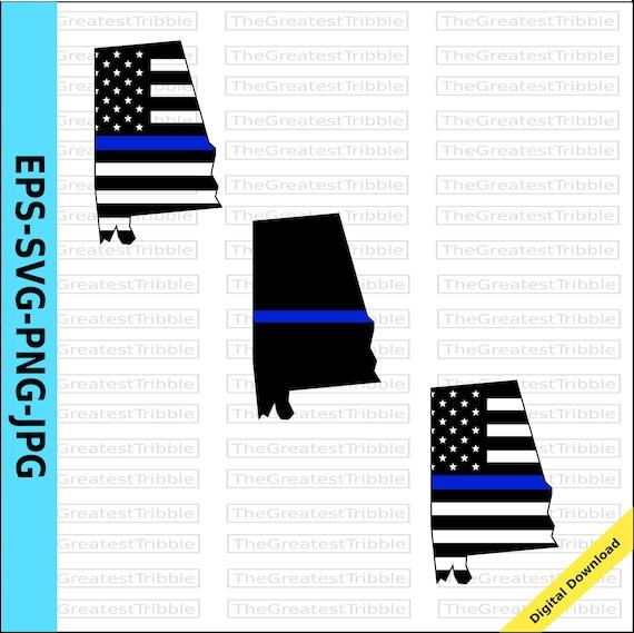 Thin Blue Line Alabama Usa Flag Thin Blue Line Flag Eps Svg Etsy