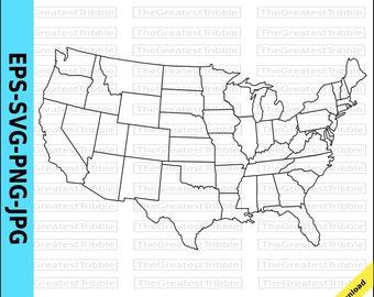 US Map, United States Map, State Outlines, Transparent Background, eps svg png jpg