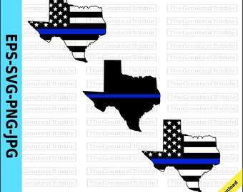 Thin Blue Line Texas USA Flag Thin Blue Line American Flag eps svg png jpg Vector Graphic Clip Art Texas State clipart Support Our Police