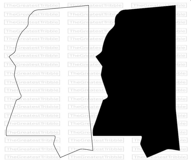 Mississippi State Map Outline.Mississippi State Map Svg Png Jpg Vector Graphic Clip Art Etsy