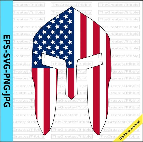 Spartan Helmet Front Usa Flag American Flag Eps Svg Png Jpg Etsy