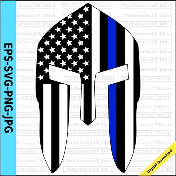 Spartan Helmet Front Thin Blue Line Usa Flag American Flag Eps Etsy
