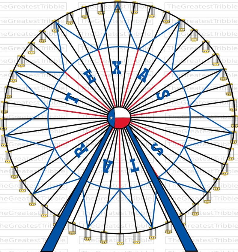 Ferris Wheel Texas Star Ferris Wheel SVG PNG JPG Vector Graphic Clip Art