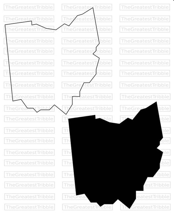 Ohio State Map Svg Png Jpg Vector Graphic Clip Art Ohio State Etsy