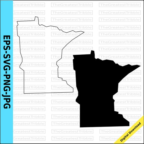 Minnesota Map Png.Minnesota State Map Eps Svg Png Jpg Vector Graphic Clip Art Etsy