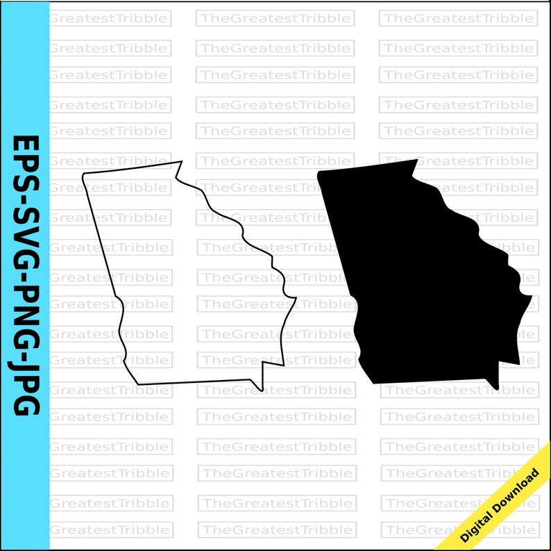 Outline Of Georgia Map.Georgia State Map Svg Png Jpg Eps Vector Graphic Clip Art Georgia State Outline