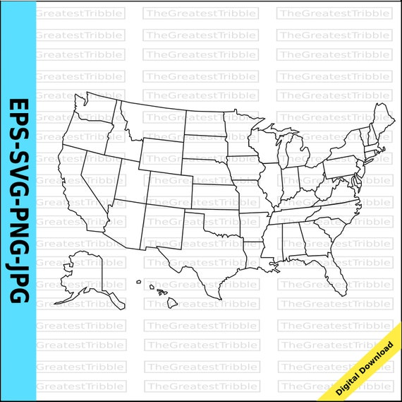 US States Map eps svg png jpg Vector Graphic Clip Art, Silhouette, Outline  US Map Alaska Hawaii
