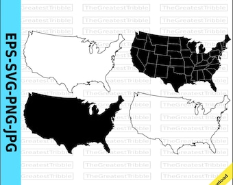 US States Map eps svg png jpg Vector Graphic Clip Art, Silhouette, Outline US Map