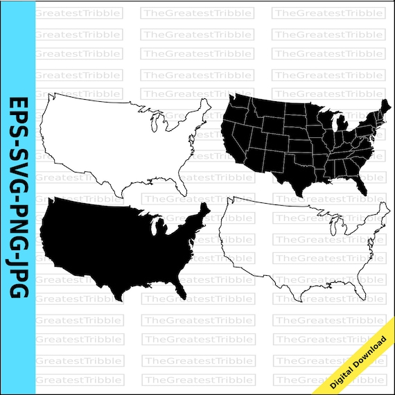 Us States Map Eps Svg Png Jpg Vector Graphic Clip Art Etsy