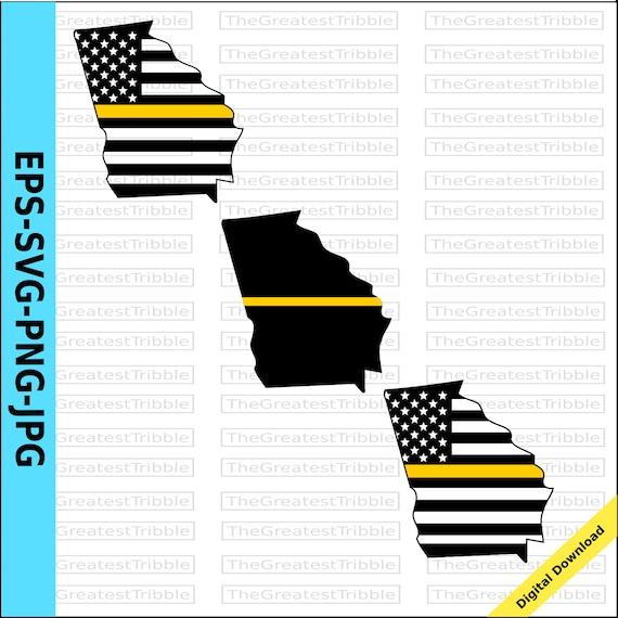Thin Yellow Line Georgia Usa Flag Thin Yellow Line Flag Eps Etsy