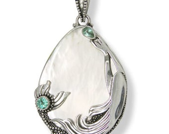 Offerings Sajen Sterling Silver Mermaid Pendant with Mother of Pearl and Apatite