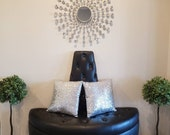 Entryway bench ottoman in black faux leather tufted on seat and cone with crystal buttons