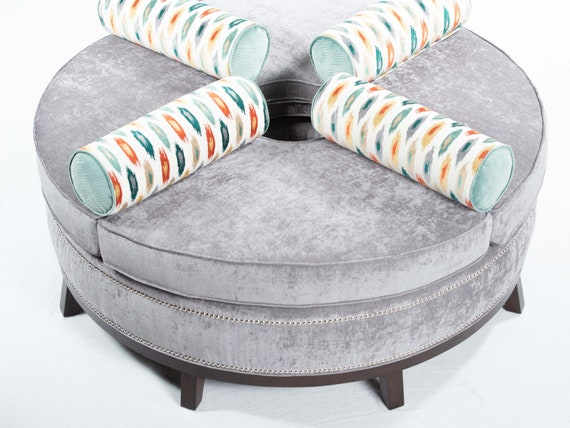 Strange Round Ottoman With Bolster Pillows Open In The Middle Squirreltailoven Fun Painted Chair Ideas Images Squirreltailovenorg