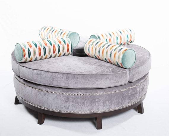 Fabulous Round Ottoman With Bolster Pillows Open In The Middle Squirreltailoven Fun Painted Chair Ideas Images Squirreltailovenorg