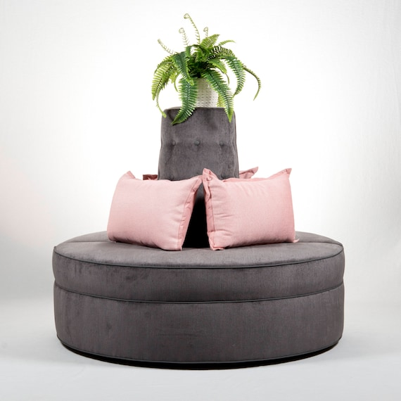 Pleasant Round Banquette Couch Lobby Sofa In Gray Chenille Fabric Modern Design Creativecarmelina Interior Chair Design Creativecarmelinacom