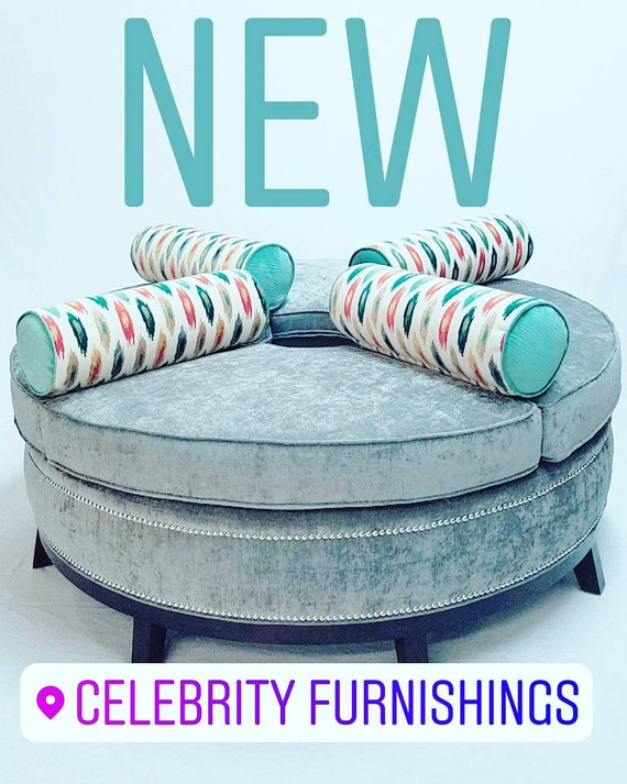 Admirable Round Ottoman With Bolster Pillows Open In The Middle Squirreltailoven Fun Painted Chair Ideas Images Squirreltailovenorg
