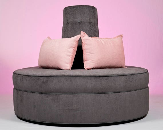 Fabulous Round Banquette Couch Lobby Sofa In Gray Chenille Fabric Modern Design Creativecarmelina Interior Chair Design Creativecarmelinacom