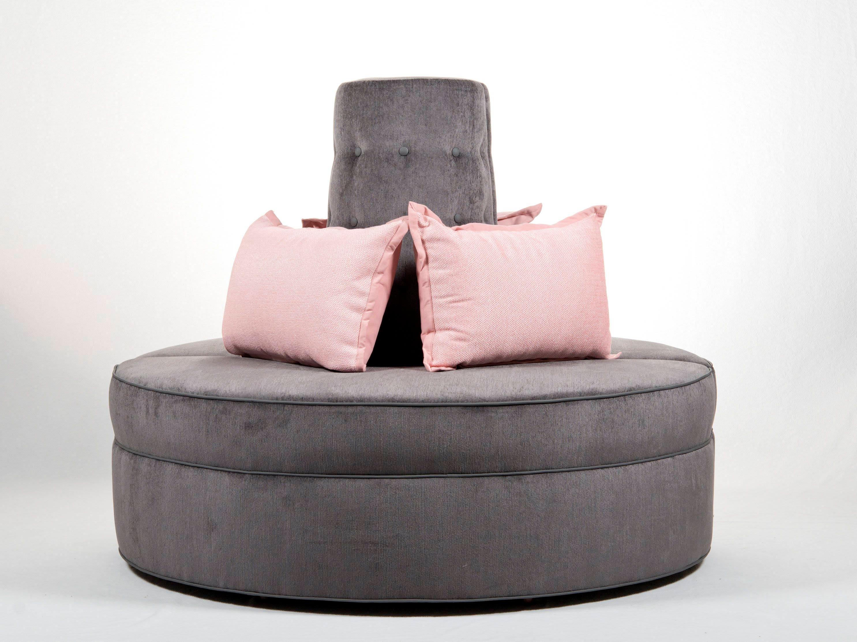 round banquette settee lobby sofa in gray chenille fabric etsy rh etsy com buy round lobby sofa