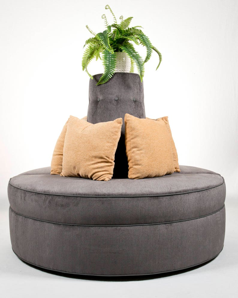 round banquette settee lobby sofa in gray chenille fabric etsy rh etsy com buy round lobby sofa round tufted lobby sofa