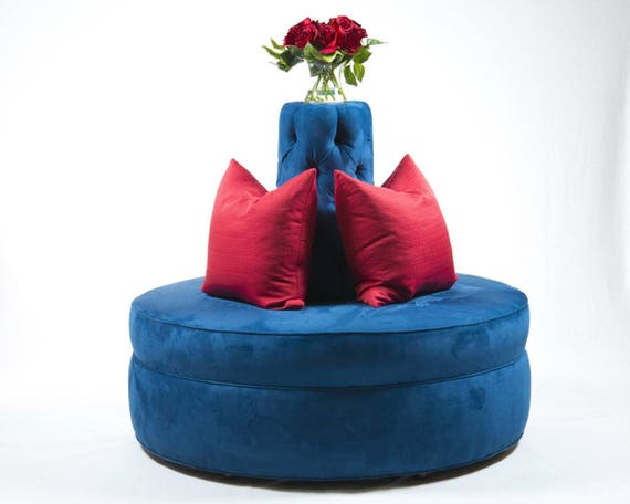 Enjoyable Round Ottoman Royal Blue Passion Suade Tufted Cone Circle Round Settee Sofa Banquette Hair Salon Spa Clothing Store Ncnpc Chair Design For Home Ncnpcorg