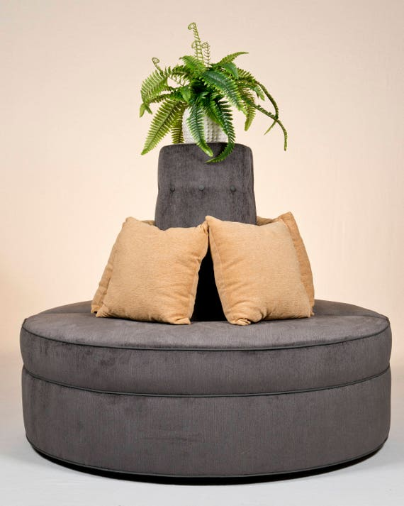 Awe Inspiring Round Banquette Couch Lobby Sofa In Gray Chenille Fabric Modern Design Creativecarmelina Interior Chair Design Creativecarmelinacom