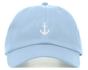 47ad9612 ANCHOR Baseball Hat, Embroidered Dad Cap • Nautical Ship Boat •  Unstructured Six Panel • Adjustable Strap Back