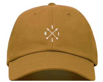 f68bf24f4263b7 COMPASS Baseball Hat, Embroidered Dad Cap • Arrow Travel Adventure Wander •  Unstructured Six Panel • Adjustable Strap Back