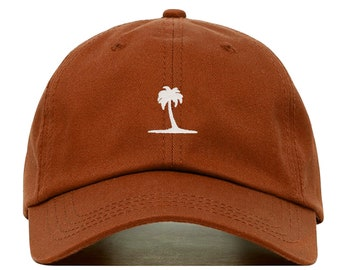 0b1cb1e50b8c0a PALM TREE Baseball Hat, Embroidered Dad Cap • Beach Tropical Plant •  Unstructured Six Panel • Adjustable Strap Back