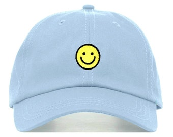 c7cfa084a37e2d SMILEY FACE Baseball Hat, Embroidered Dad Cap • Happy Emoji Emoticon •  Unstructured Six Panel • Adjustable Strap Back