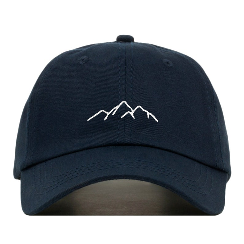 37c746cee08 MOUNTAIN Baseball Hat, Embroidered Dad Cap • Hiking Climbing Adventure •  Unstructured Six Panel • Adjustable Strap Back