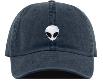 ALIEN Baseball Hat, Embroidered Dad Cap • Outer Space Extraterrestrial • Unstructured Six Panel • Adjustable Strap Back