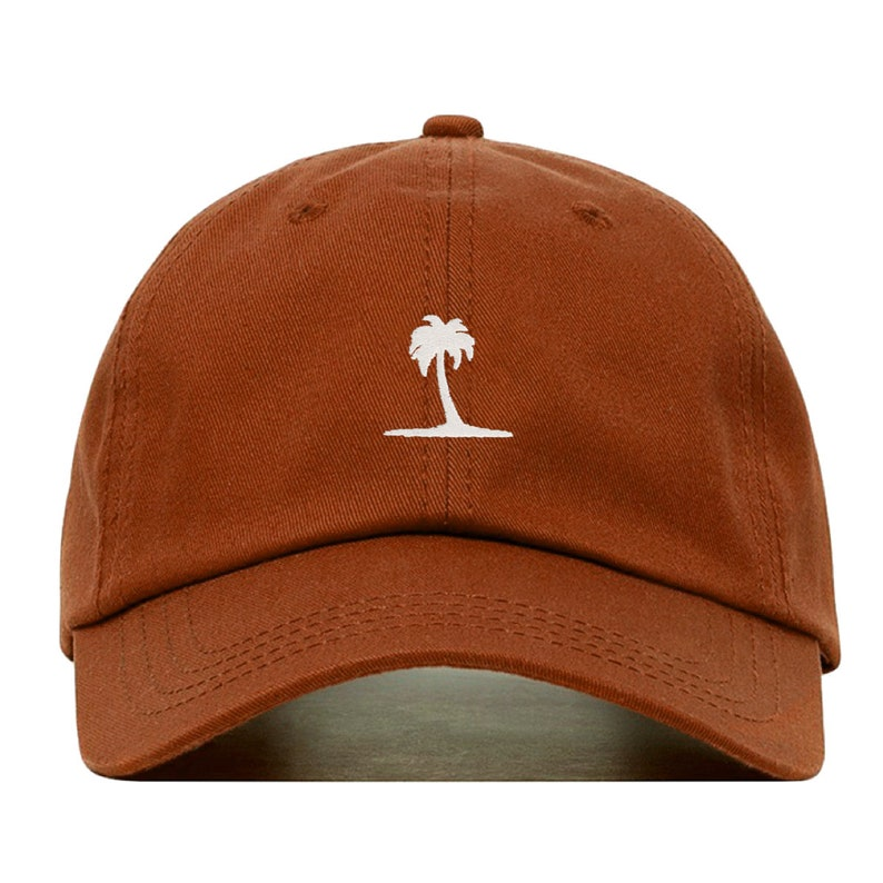 PALM TREE Baseball Hat Embroidered Dad Cap \u2022 Beach Tropical Plant \u2022 Unstructured Six Panel \u2022 Adjustable Strap Back
