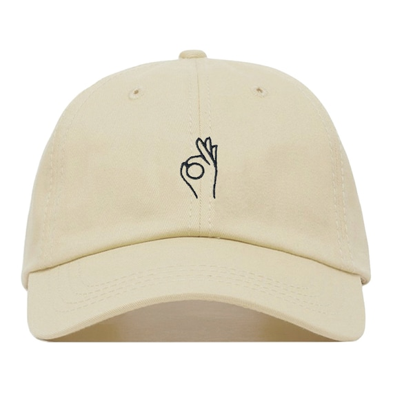 010af2f122b A OK Baseball Hat Embroidered Dad Cap Sign Emoji Meme Hand