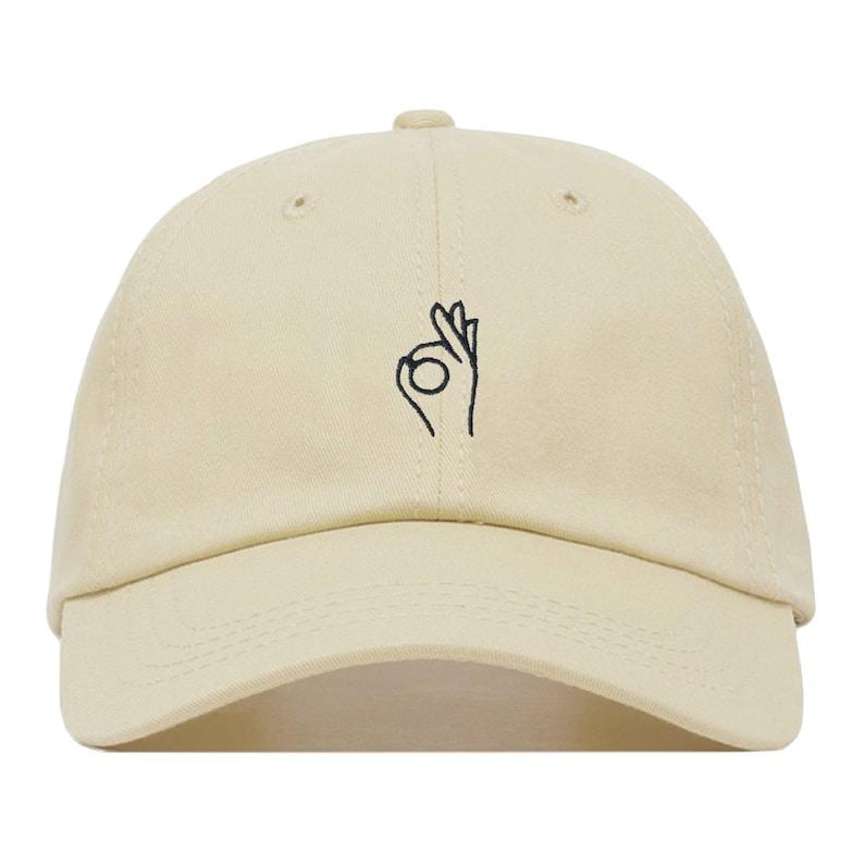 9a53b174f3592 A OK Baseball Hat Embroidered Dad Cap Sign Emoji Meme Hand