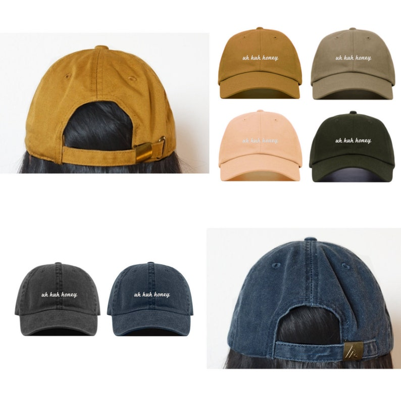 UH HUH HONEY Baseball Hat Embroidered Dad Cap \u2022 Kanye West Kim K \u2022 Unstructured Six Panel \u2022 Adjustable Strap Back