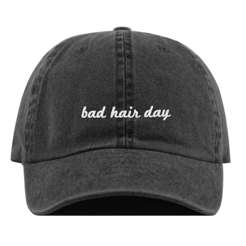 b47b90951 BAD HAIR DAY Baseball Hat, Embroidered Dad Cap • Messy Hair Funny Quote •  Unstructured Six Panel • Adjustable Strap Back