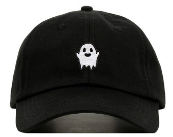 GHOST Baseball Hat, Embroidered Dad Cap • Spooky Kawaii Boo Grunge • Unstructured Six Panel • Adjustable Strap Back