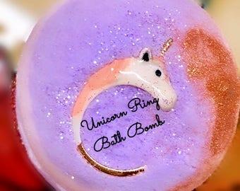 Unicorn Bath Bomb/Bath bomb with jewel/unicorn bath bomb/bath bomb with ring/adjustable ring inside all size fit.