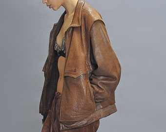 Brown Distressed Oversized Leather Jacket Vintage 80s