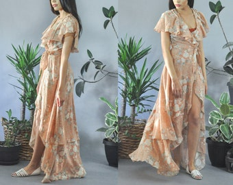 Wrap Ruffle Floral Bohemian Maxi Dress 60s