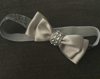 Silver baby headband