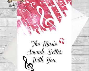 Music Card For Lovers Birthday Thank You Symbols Anniversary Cards