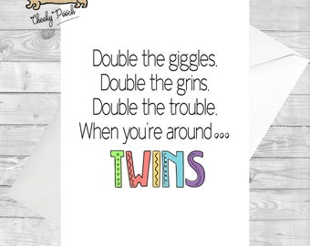 Twin Card Birthday For Double Trouble Twins Sister Brother Funny Cards
