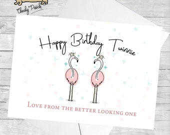 Flamingo Card Twin Birthday For Twinning Twins Sister Funny Cards