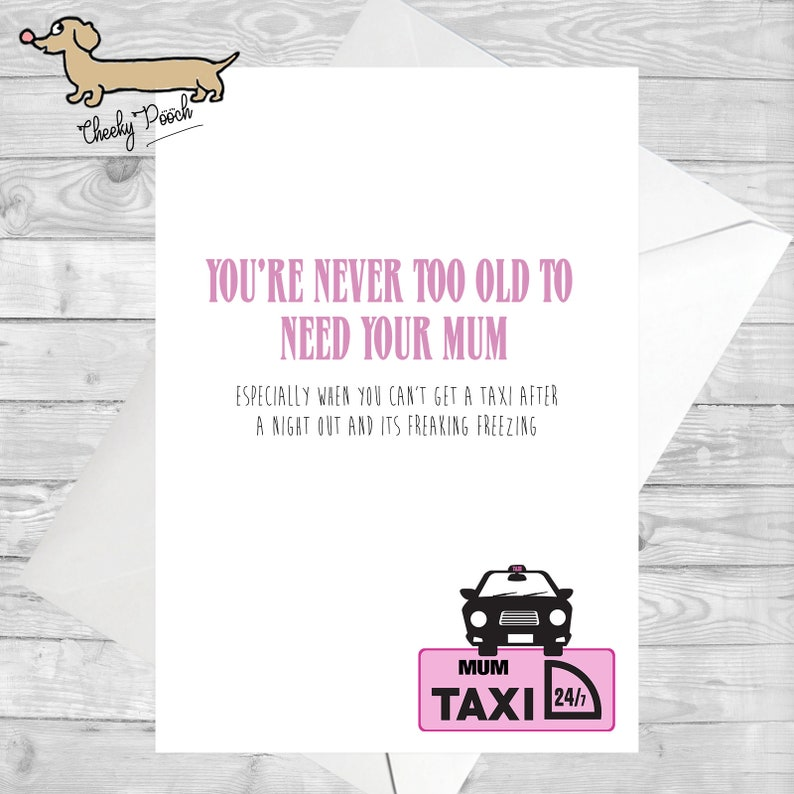 Mum Taxi Funny Card For Mothers Day Cards