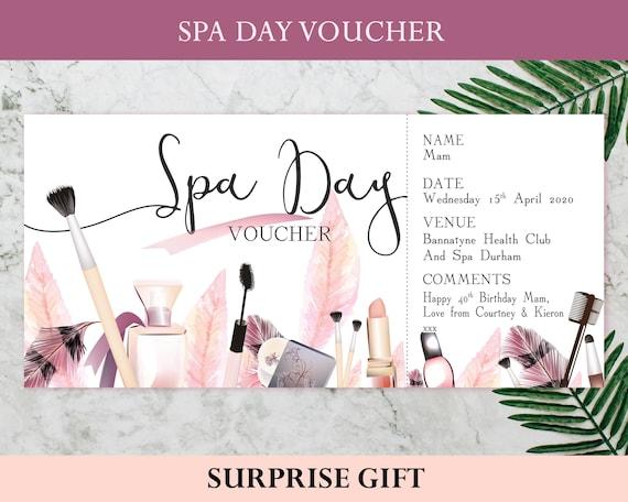 PRINTABLE Spa Day Voucher Spa session Gift voucher   Etsy