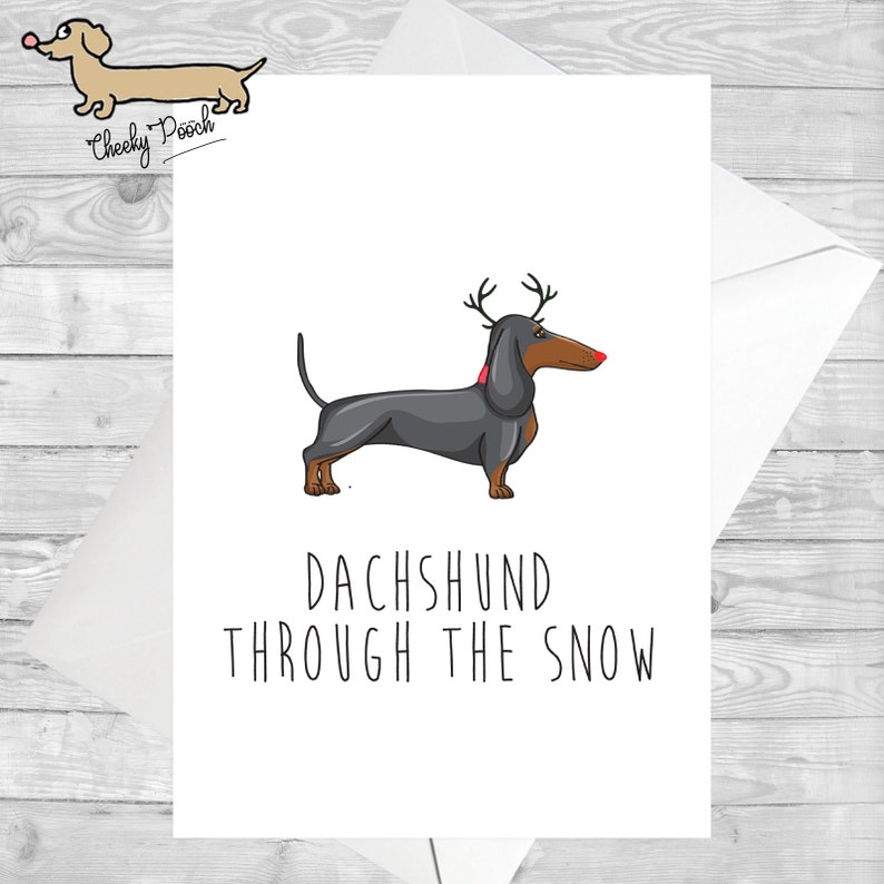 5000329ed80 Dachshund Sausage Dog Christmas Card Xmas Card Reindeer
