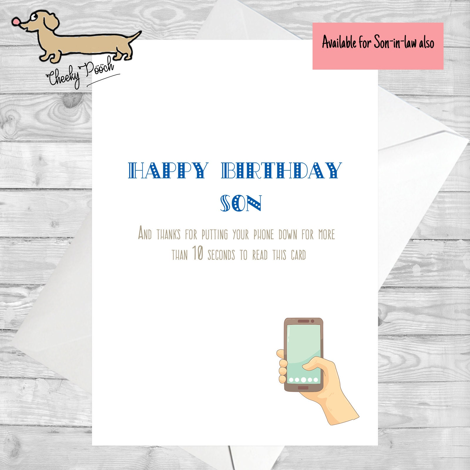 Funny Cards Card For Son In Law Birthday Cheeky Phone
